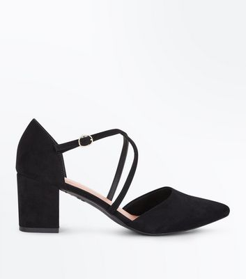 Black Comfort Flex Suedette Pointed Strappy Block Heels