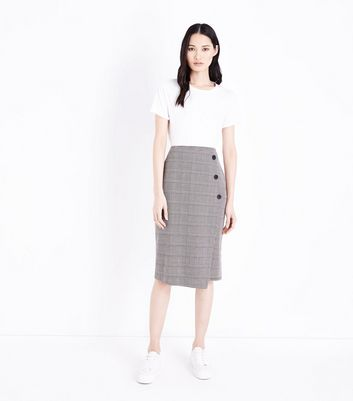 Brown Check Wrap Front Pencil Skirt
