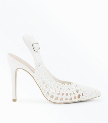 White Leather-Look Woven Slingback Stilettos