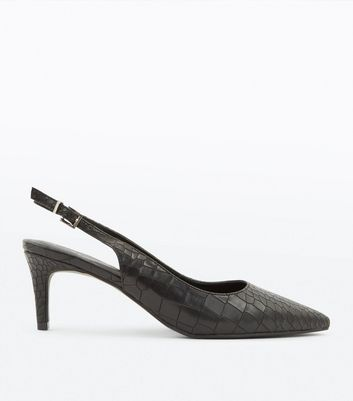 Black Faux Croc Kitten Heel Slingbacks