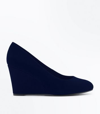 Navy Comfort Suedette Low Wedges