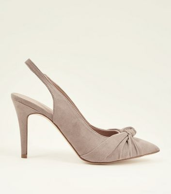 Grey Suedette Knot Pointed Slingbacks