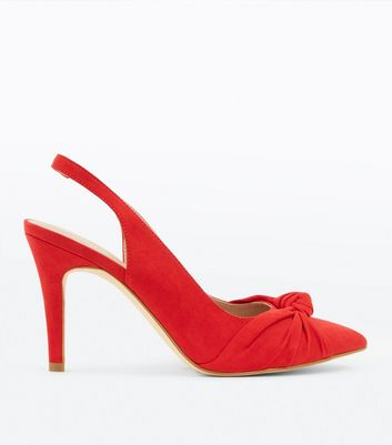 Red Suedette Knot Pointed Slingbacks