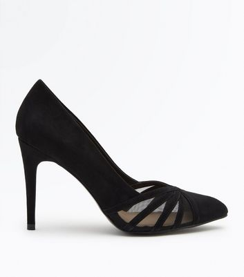Black Suedette Strappy Mesh Pointed Courts