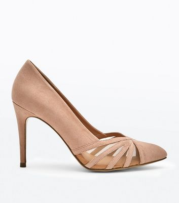 Nude Suedette Strappy Mesh Pointed Courts