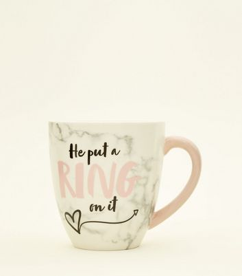 White Marble Effect He Put A Ring On It Mug