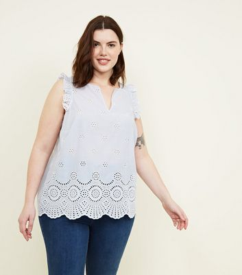 Curves Blue Stripe Broderie Frill Sleeve Top