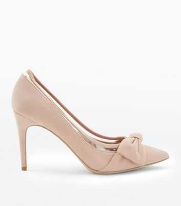 Nude Suedette Clear Panel Pointed Courts