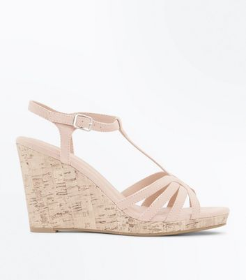 Nude Suedette Strappy T-Bar Cork Wedges