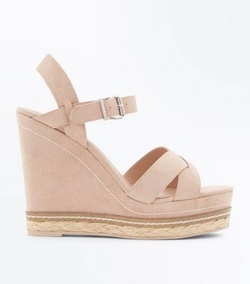 Pink Suedette Platform Wedges by New Look