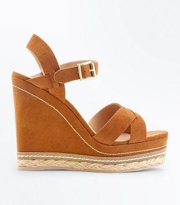 Tan Suedette Cross Strap Platform Wedges