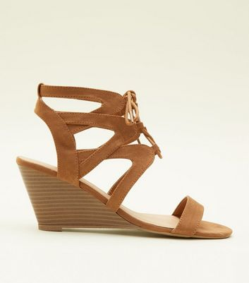 Tan Suedette Ghillie Lace Up Wedges