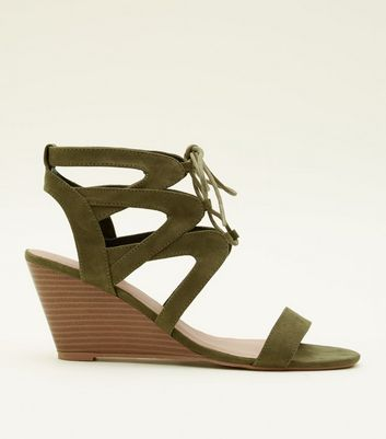 Khaki Suedette Ghillie Lace Up Wedges