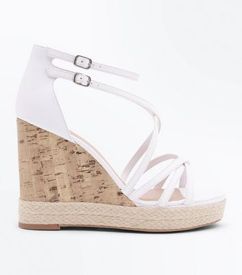 White Strappy Platform Espadrille Wedges