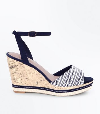 Navy Comfort Stripe Strap Peep Toe Wedges