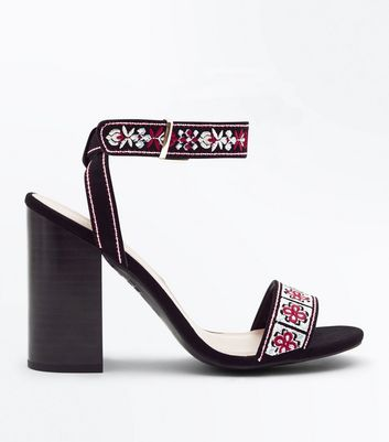 Black Embroidered Suedette Block Heels