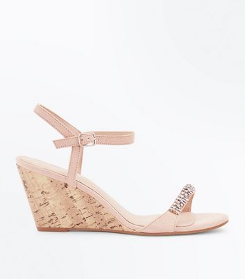 Nude Suedette Diamanté Strap Cork Wedges by New Look