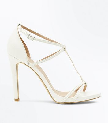 White Strappy T-Bar Stiletto Heel Sandals