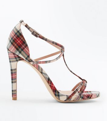 Red Tartan T-Bar Strappy Stiletto Heels
