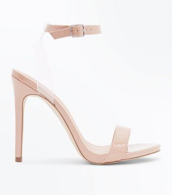Nude Patent Clear Strap Heeled Sandals