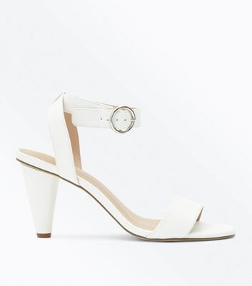 White Circle Buckle Cone Heel Sandals