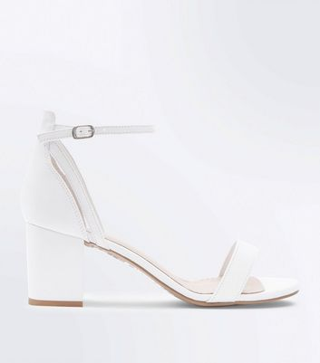 White Comfort Flex Low Block Heel Sandals