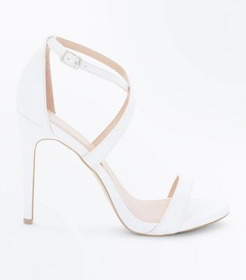 White Strappy Stiletto Heel Sandals
