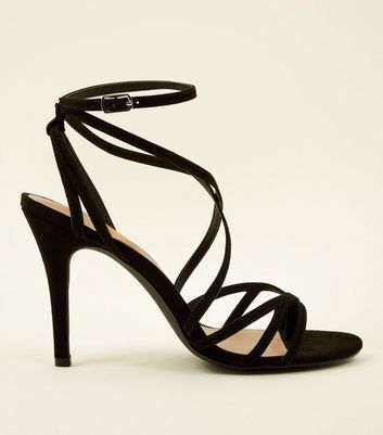 Black Suedette Strappy Stiletto Sandals