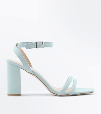 Mint Green Suedette Padded Strap Block Heels