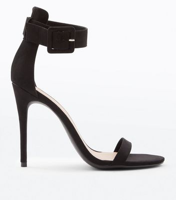 Black Suedette Buckle Strap Barely There Heels