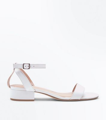White Low Block Heel Two Part Sandals