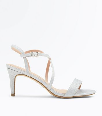 Silver Glitter Strappy Low Heel Sandals by New Look