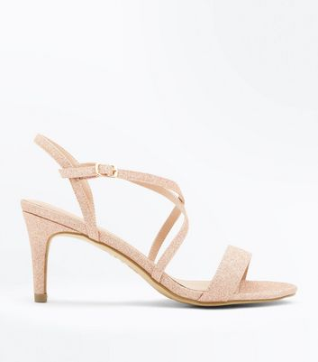 Rose Gold Glitter Strappy Low Heel Sandals