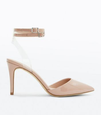 Nude Patent Clear Strap Two Part Heels