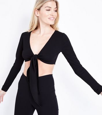 Pink Vanilla Black Tie Front Crop Top