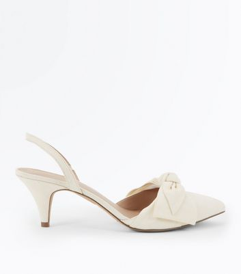 Cream Canvas Bow Front Pointed Kitten Heels