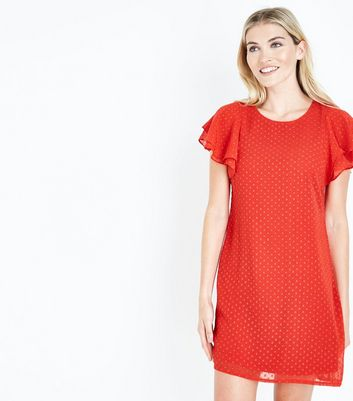 Mela Red Spot Texture Tiered Sleeve Dress