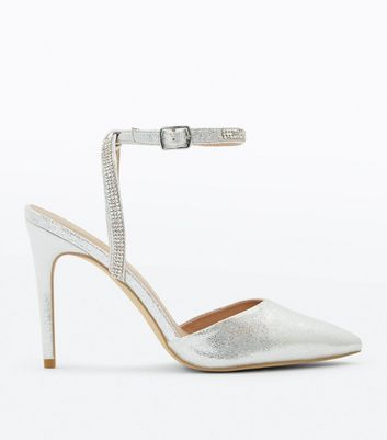 Silver Metallic Diamante Ankle Strap Heels