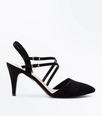 Black Suedette Asymmetric Strap Pointed Heels