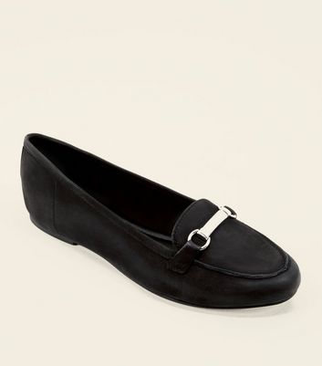 Black Leather Metal Bar Front Loafers