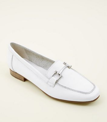 White Leather Bar Front Loafers by New Look