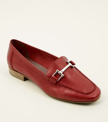 Red Leather Bar Front Loafers
