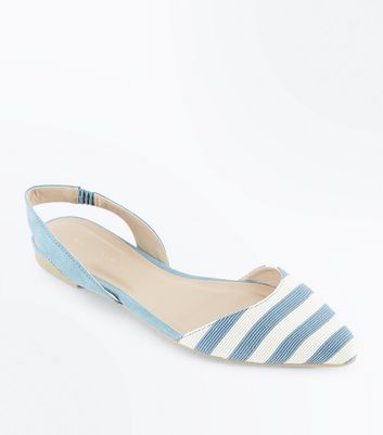 Blue Stripe Woven Pointed Pumps
