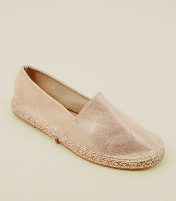 ... Rose Gold Metallic Round Toe Espadrilles