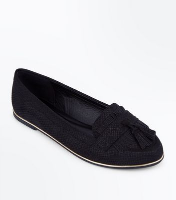 Black Suedette Faux Snakeskin Tassel Loafers by New Look