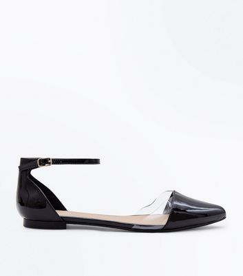 Black Patent Clear Panel Pointed Pumps by New Look