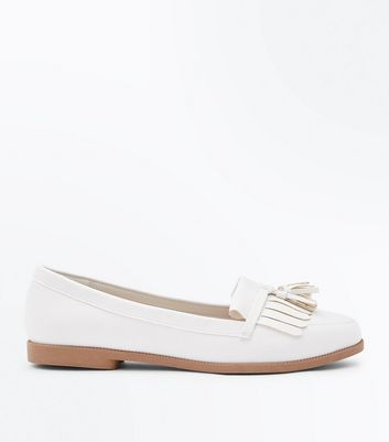 White Fringe Tassel Trim Loafers