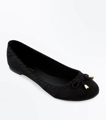 Black Suedette Rope Bow Ballet Pumps