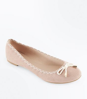 Nude Suedette Rope Bow Ballet Pumps