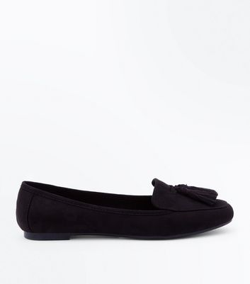 Girls Black Tassel Trim Loafers